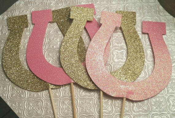 Choose colors and sets of Horseshoe toppers for centerpieces ground decorations cakes baby shower birthday party favor table decor