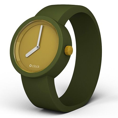 O clock watch - Moss dial with Olive strap