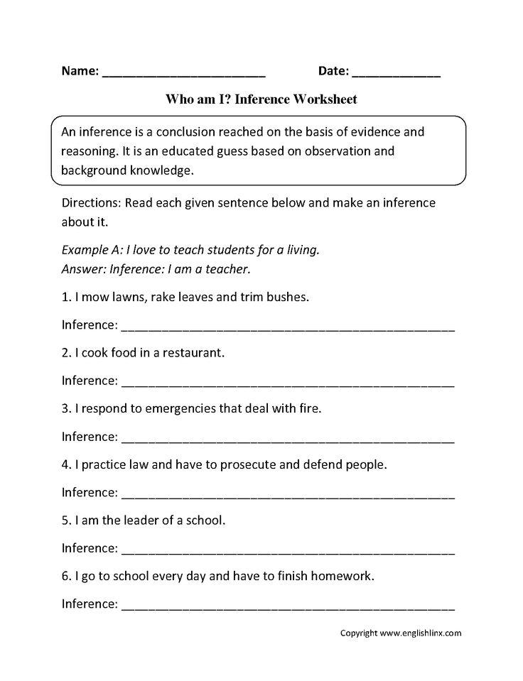 Printable Worksheets inference worksheets grade 4 : 12 best Inference images on Pinterest | Reading worksheets ...