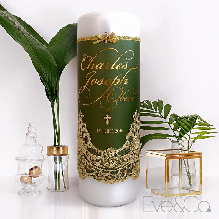 Gorgeous olive and gold christening candle for baby Charles