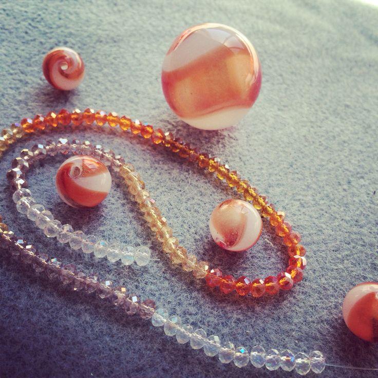 Hand blown glass and Czech glass beads combination #design #unique #create #make #GGJewellery