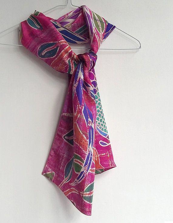 Dark pink silk scarf. Ruby burgundy scarf, stylish designer bird print scarves by Ima Pico on Etsy.