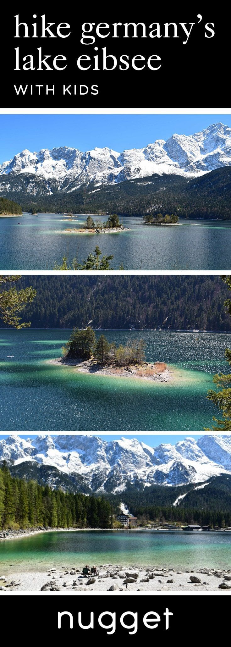 Discover the emerald waters of Lake Eibsee with kids. Hike around the Eibsee and take in the majestic views of the Zugspitze in Bavaria, Germany. #FamilyTravel #TravelItinerary #Germany