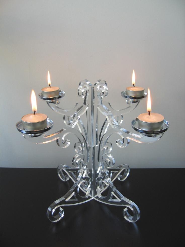 Lucite Candelabra - Laser cut chandelier. The tealights have to go! #Fablab