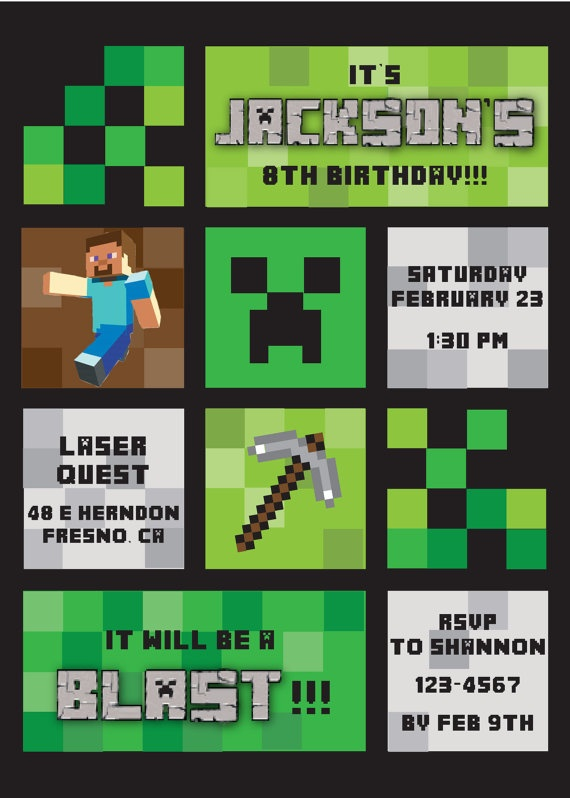 Minecraft Themed Birthday Party Invitation