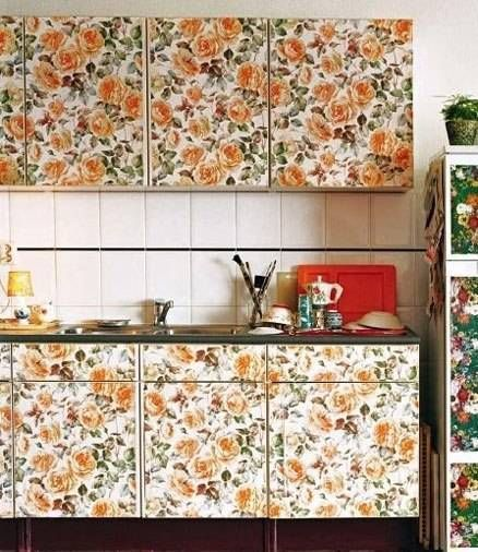 Removable wallpaper for kitchen cabinet for the home for Wallpapered kitchen ideas
