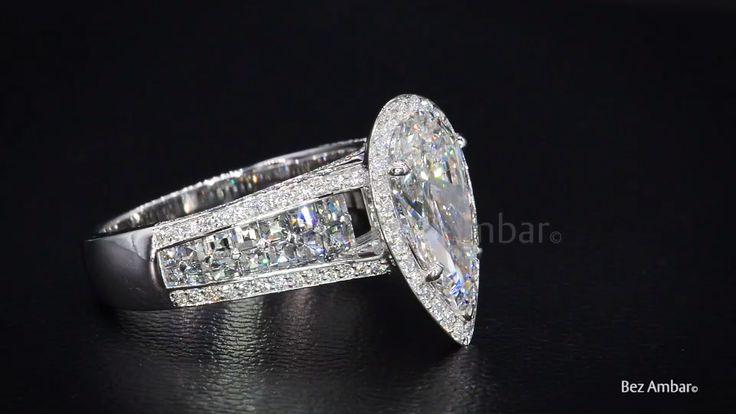 Pear Shape Diamond Ring with Blaze® Diamond Accent by Bez Ambar