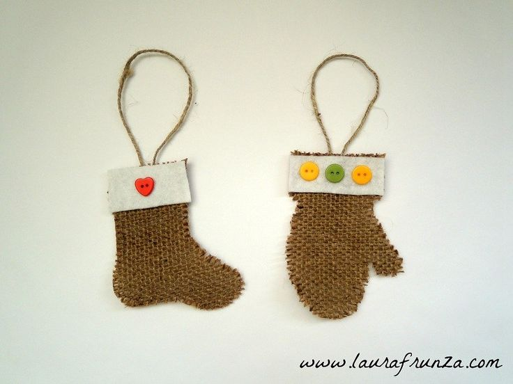 burlap Christmas tree decorations - stiffen them with modge podge
