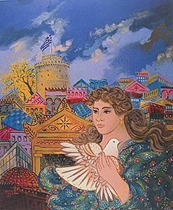 Σταθόπουλος Γιώργος |Κοπέλα με περιστέρι Gallery Krios