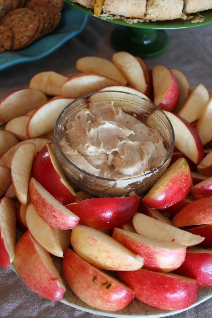 Brown sugar Cream cheese apple dip: Ingredients: 1 bar of cream cheese, slightly softened 1 packed cup of brown sugar A little bit of vanilla (I always eye ball it, but it's probably around a teaspoon) Mix ingredients together using an electric mixer until smooth. Refrigerate for at least 15 minutes before serving. That's it. Seriously. And it's SO good!