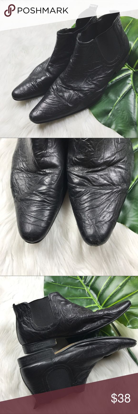 Topman Crinkled Leather Chelsea Boots In very good used condition // boots shoe typical signs of wear // one shoe has hearts drawn on the bottoms sole (refer to photo). Topman Shoes Boots