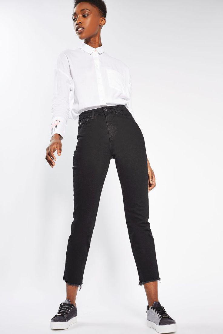MOTO Black Raw Hem Straight Leg Jeans - Topshop
