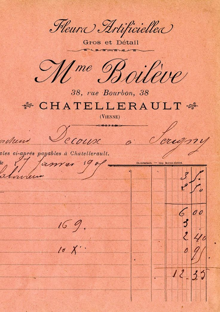 antique french flower seller invoice