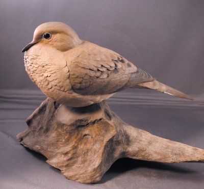 Mourning Dove Wood Carving