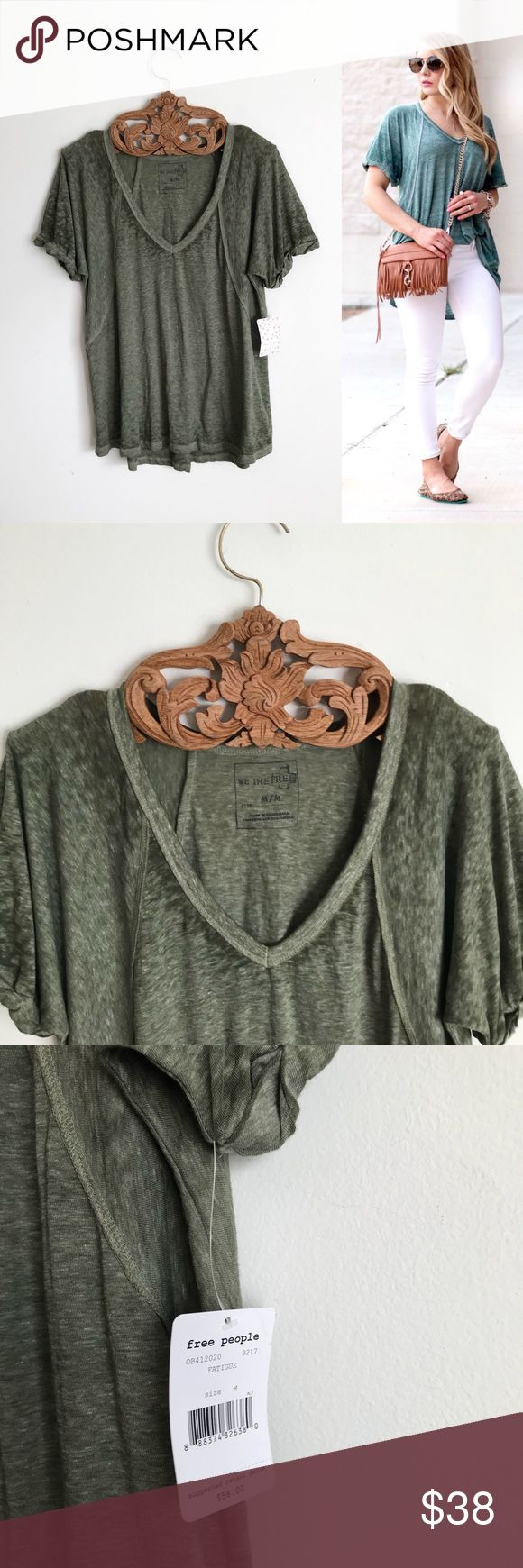 Free People Free Falling Slouchy Boho Tee ⠀ ‣‣❊‣‣‣‣❊‣‣ NO TRADES ‣‣❊‣‣‣‣❊‣‣ ⠀ ☾We The Free // Free People Free Falling Tee. New twist on an old FP fave, this tee features the same slouchy, oversized fit but it's in a so-soft burnout jersey. Ribbed V-Neck with rolled short sleeves. Subtle Hi-Lo hem.  Xo Free People Tops Tees - Short Sleeve