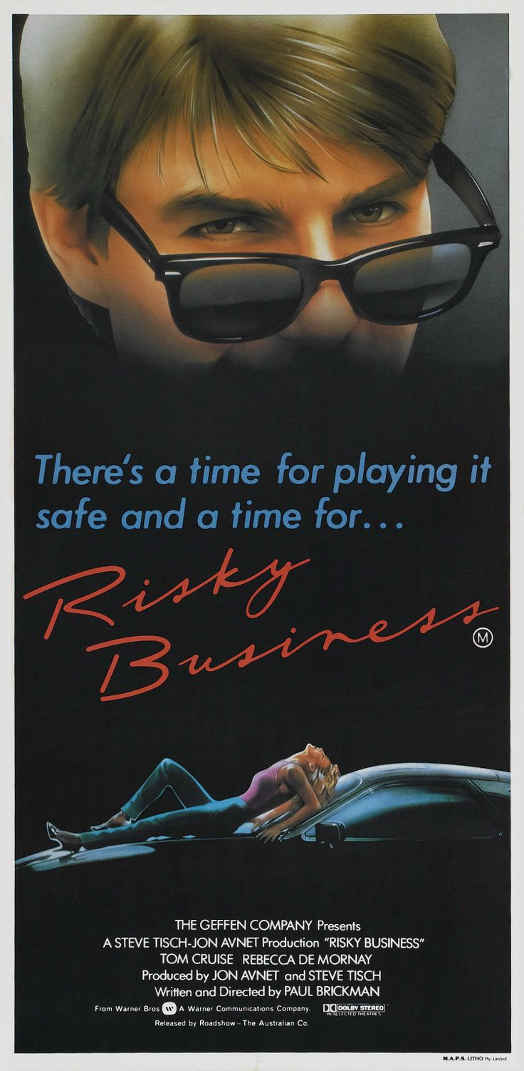 """Risky Business"" (1983). COUNTRY: United States. DIRECTOR: Paul Brickman. CAST: Tom Cruise, Rebecca de Mornay, Joe Pantoliano, Richard Masur, Bronson Pinchot, Nicholas Pryor, Janet Carroll, Curtis Armstrong"