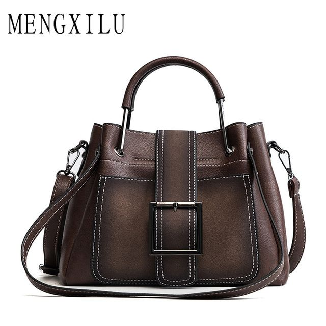 MENGXILU Bag Women Handbag Ladies Soft Pu Leather Bag Pin Type Women Bag  Solid Fashion Shoulder 9cd7971194c39