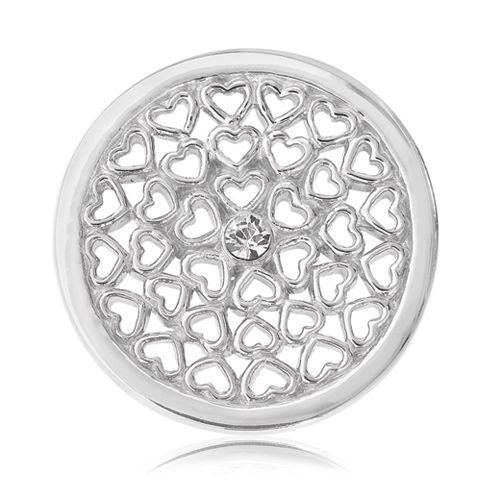 Nikki Lissoni Hearts All Over Coin (small, silver tone, clear Swarovski® Elements)