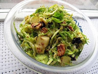 Shredded brussels sprouts salad with pear pecans and for Shredded brussel sprout salad recipe