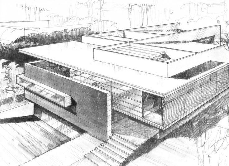 Skizzen Schule Fassaden Geplant Architekturzeichnungen Zeichnen Entwurf Haus Architektur
