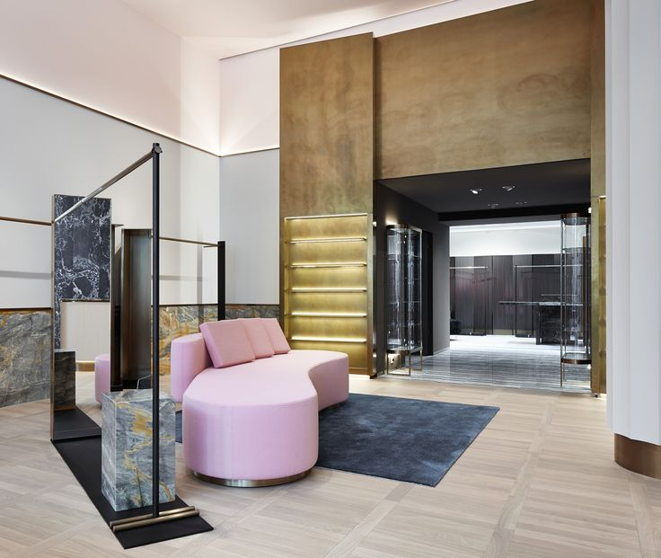 Concept-store Apropos Hamburg, men flagship, brass triptych, pink sofa, retail design by Rodolphe Parente