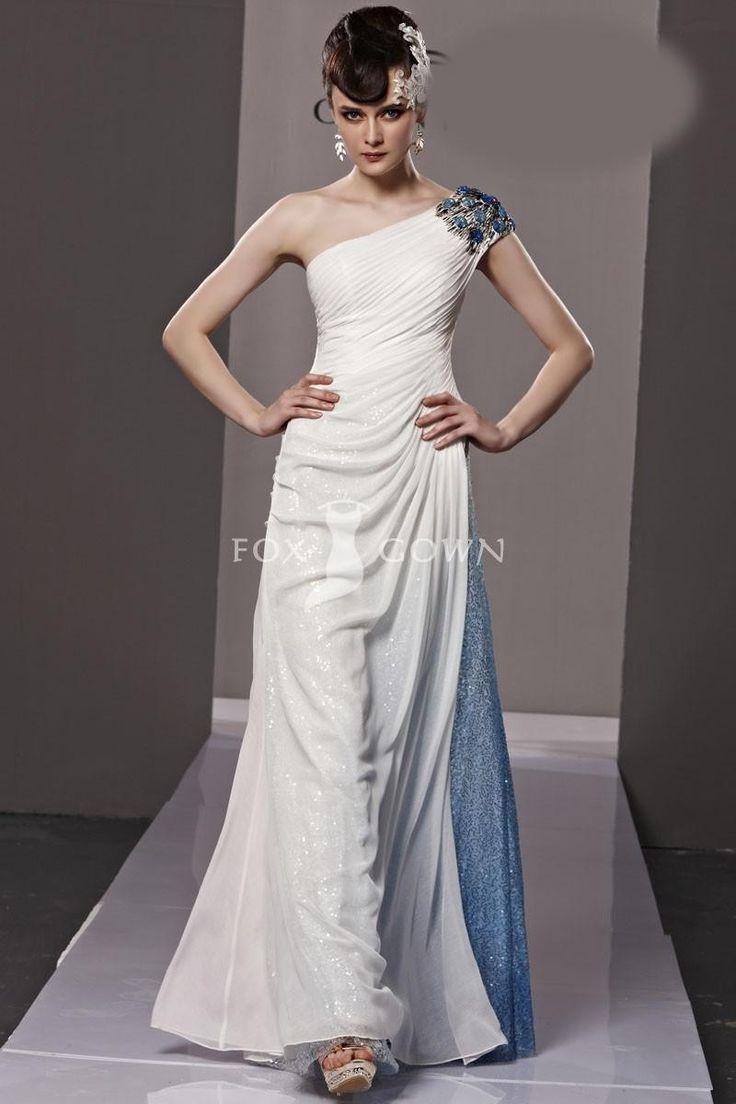 A-line Ivory One-Schulter Mantel Abendkleid mit plissierten Mieder $378 Abendkleider