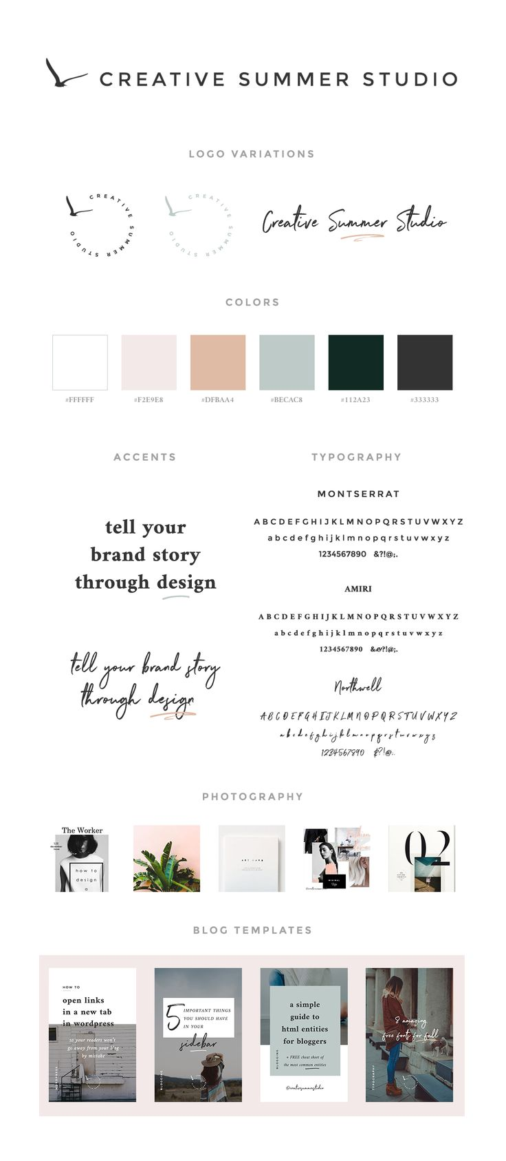 Brand style guide for Creative Summer Studio. We designed a minimal layout with bold touches, beautiful typography,  feminine colors, and some magazine layout influences. Read the story behind our rebranding process and download a free branding checklist use it whenever you'll feel like it's time for new beginnings.  branding rebranding design minimal design brand identity style guide