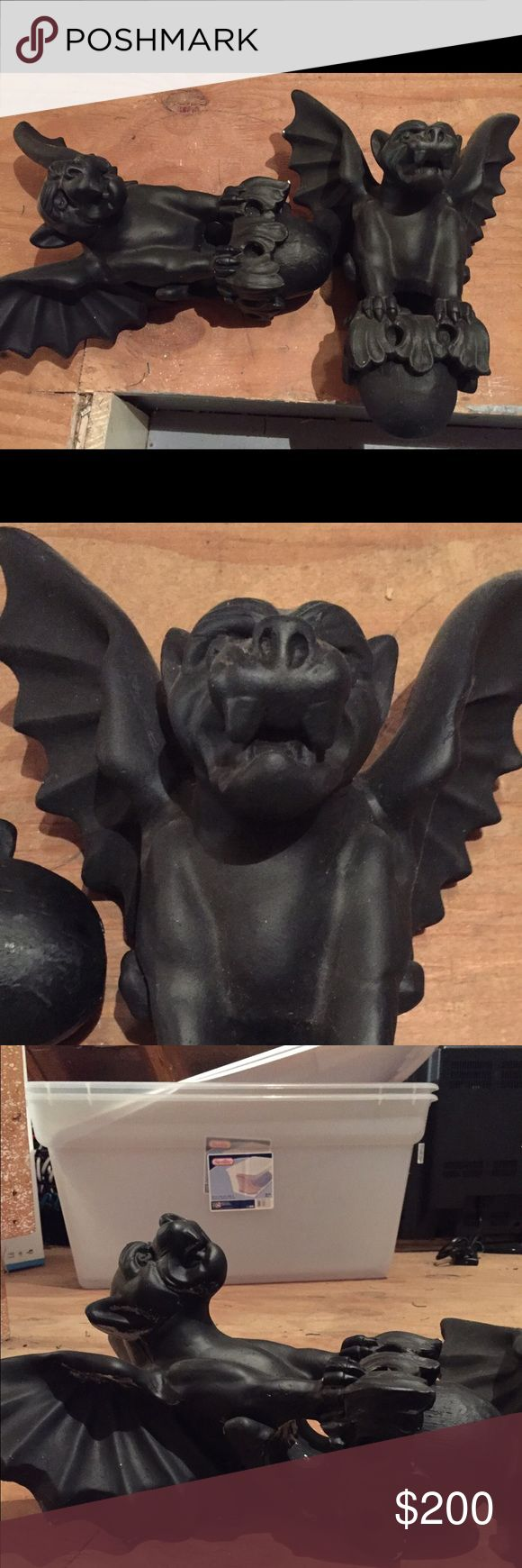 Gargoyle curtain rod holders Black heavy gargoyles designed to be used as curtain rod holders. Purchased years ago at estate sale . They sat in corners of study doorway with curtain rod and velvet drape . They are old vintage and heavy . Approx 12 inches tall and 10 inches wide at wings. They have a weight like concrete and appear to be ceramic unknown Other