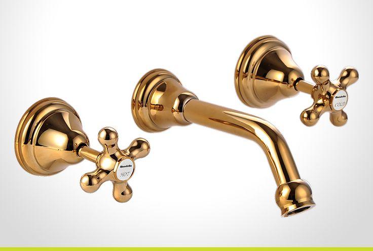 Maestro gold cross handle bath set