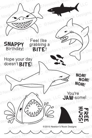 Shark Bites - 4x6 Photopolymer Stamp Set by Newton's Nook Designs featuring Shark Stamps