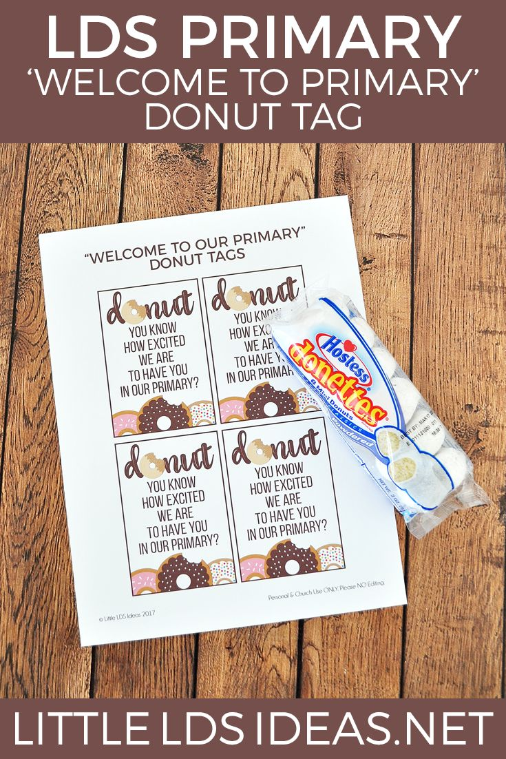LDS Primary Donut Tag. 'Welcome to Primary' donut tag printable from Little LDS Ideas