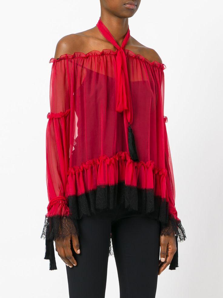Alberta Ferretti прозрачная блузка с завязками