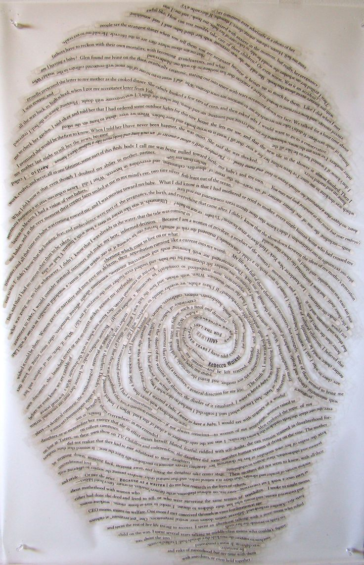 Thumbprint collage...using text - self portrait. Take your thumb print, enlarge it, then collage it!
