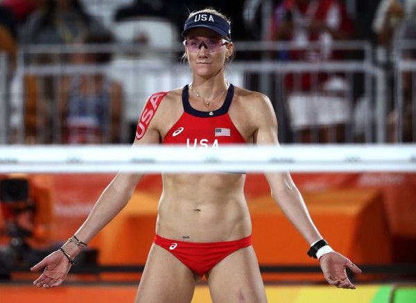 Kerri Walsh Jennings Photos - Kerri Walsh Jennings of United States looks on during a Women's Quarterfinal match between the United States and Australia on Day 9 of the Rio 2016 Olympic Games at the Beach Volleyball Arena on August 14, 2016 in Rio de Janeiro, Brazil. - Beach Volleyball - Olympics: Day 9