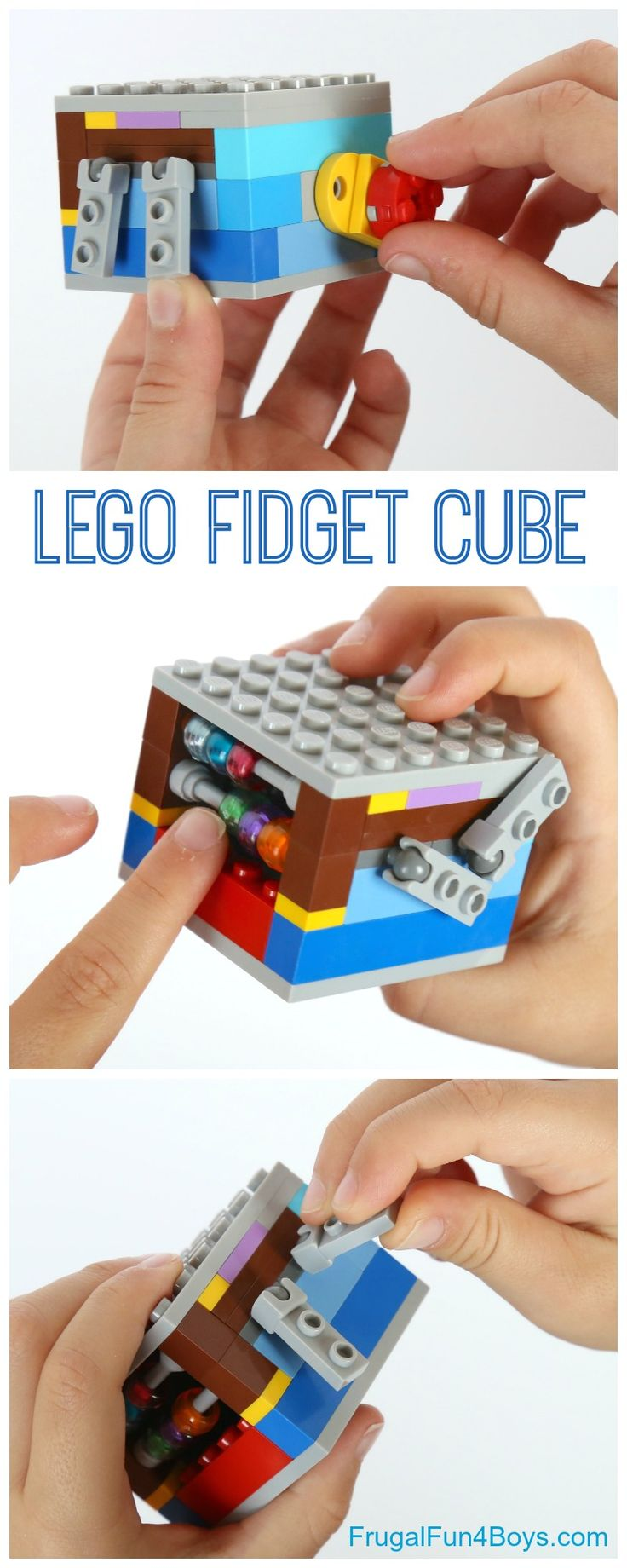 Challenge kids to turn that pile of LEGO® bricks into a fun fidget toy with something to fiddle with on each side. This is fun for any age! We started working on a fidget cube at the same time we were building our super popular LEGO® Fidget Spinner, but we are just now getting around …