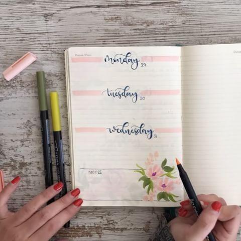 Creative Organization: beautiful floral motif bullet journal Weekly Spread. Planner layout ideas. Bujo weeklies artículo en español Bullet journal paso a paso