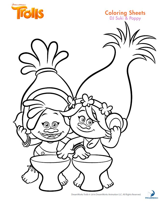 Poppy Coloring Page Trolls Sheet Suki