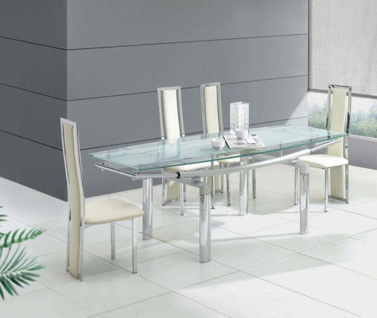 Steel Glass Dining Table White Ceramic Floor White Steel Chairs Contemporary Dining Table Ideas Image