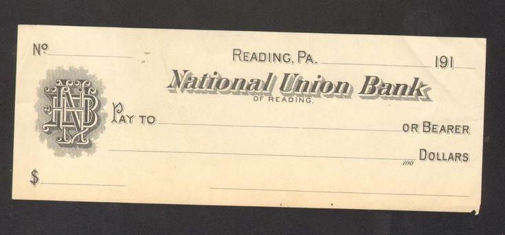 Unused 1910 Bank Receipt National Union Bank of Reading Pennsylvania PA