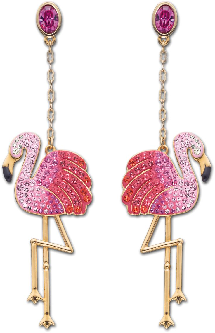 (vu) Swarovski Flamingo earrings