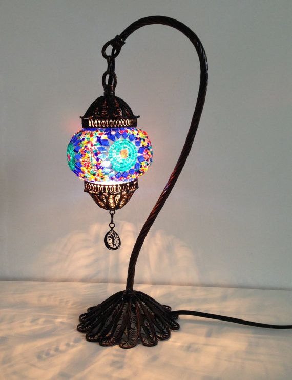 Traditional Blue Turkish Boho mosaic lamp with hand crafted copper bas – Sophie's Bazaar