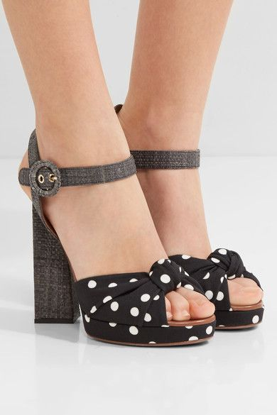 Heel measures approximately 115mm/ 4.5 inches with a 20mm/ 1 inch platform Black and white canvas, gray raffia, brown leather Buckle-fastening ankle strap Made in Italy