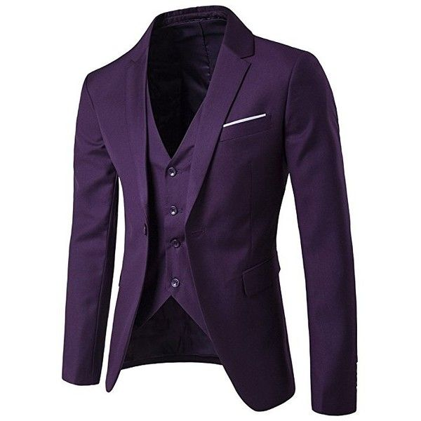 GOMY Men's Slim Fit 3 Piece Suits Single Breasted Business Wedding... ($68) ❤ liked on Polyvore featuring men's fashion, men's clothing, mens 3pc suits, mens slim fit tuxedo, mens dinner suits, mens wedding tuxedos and mens three piece suit