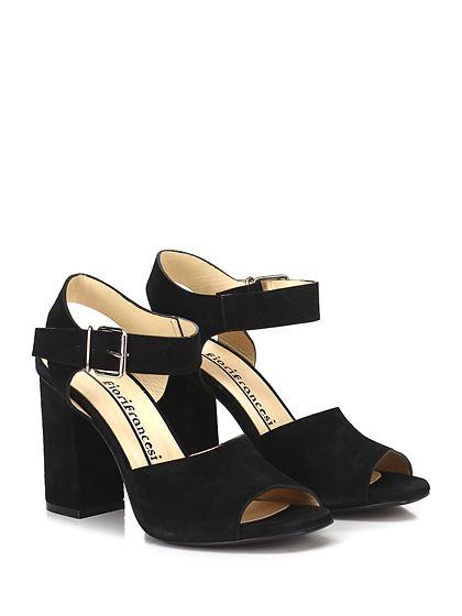 Fiori Francesi - Sandalo alto - Donna - Sandalo alto in camoscio con cinturino su collo piede e suola in cuoio. Tacco 105. - NERO - € 179.00