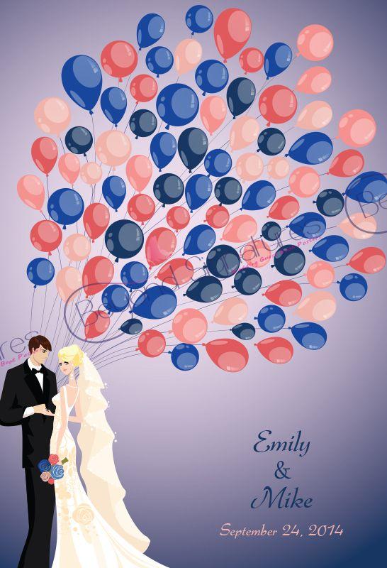 Navy/Coral/Pink Theme wedding signing poster beyondsignatures.com
