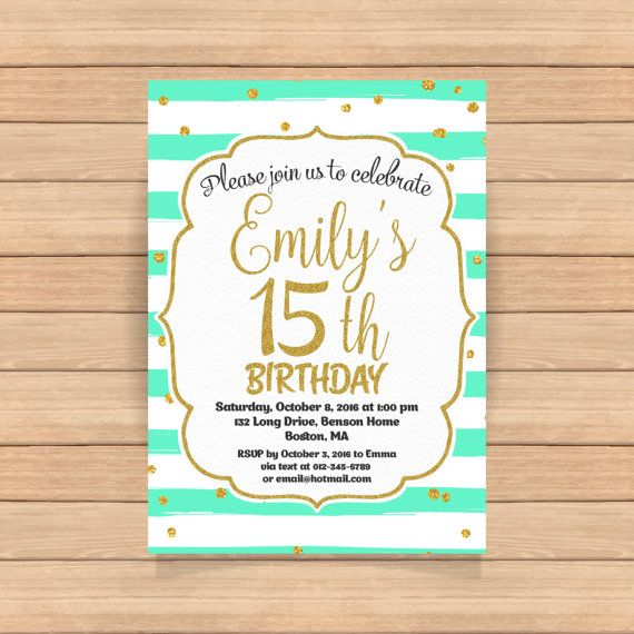 91 best teen birthday invitations images on pinterest teen 15th birthday invitation fifteenth birthday gold by coolstudio filmwisefo