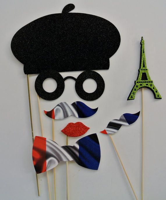 French Inspired Photo booth Props Beret Eiffel tower Flag mustaches on a stick Vive la france