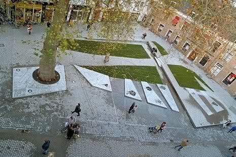 Karres en Brands, Dikke Boom en Fontein op het Gouvernementsplein, Bergen op Zoom