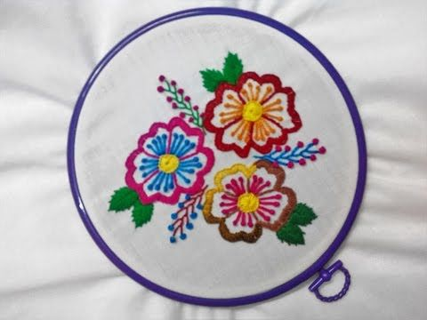 Hand Embroidery - Hibiscus Flowers with Button and Knot Stitch - YouTube