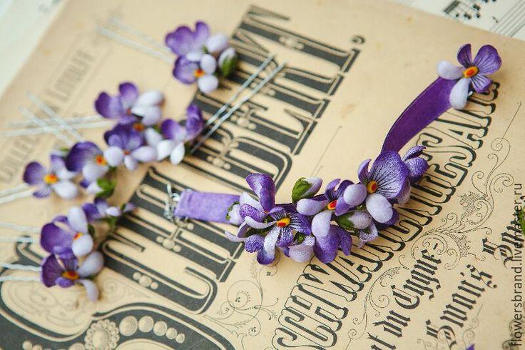 Купить Фиалки шпильки/браслет/брошь из шёлка! - фиалки, цветы из шелка, цветы из ткани, шпильки с цветами